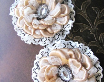 Pair of Handmade Victorian Style Flower Clips: Beige and Ivory