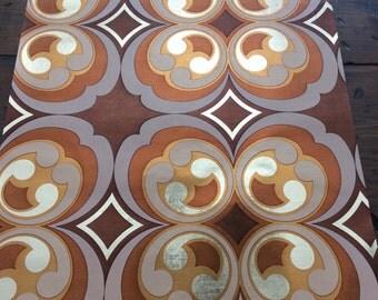 "Vintage 1977 Wallpaper Sample - 17""x15"" - Retro Brown Copper Metallic (A862)"