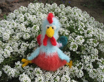Knitted toy handmade rooster Peter
