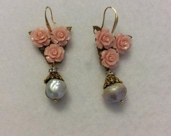 Three pink roses earrings