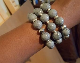 Grey and black bracelets