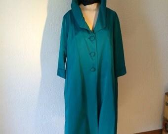 Swing Coat Satin Emerald Green Vintage 50's Vintage
