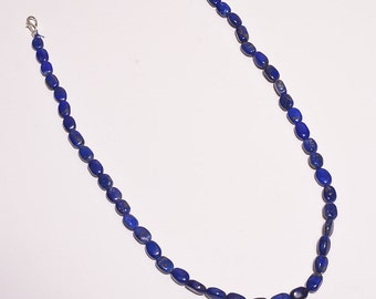 Lapis lazuli Gem stone MANI shaped beaded necklaces 18 inch approx 7x9 MM DSC-5201