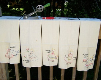 Vintage Embroidered Days of the Week Towels – set of 5 only
