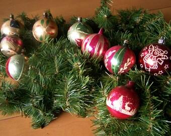 Vintage Glass Christmas Ornaments - Lot of 9, c. 1960s - Charming Retro designs