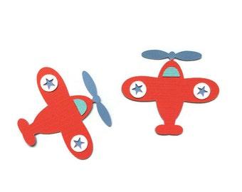 2 CT Airplane Die Cuts || Red, Blue & White || Birthday || Center Piece