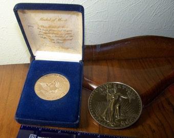 Saint Gaudens Gold Coin Replica Ronald Reagan Medal of Merit in Case