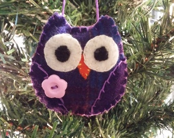 Purple Owl w/pink button