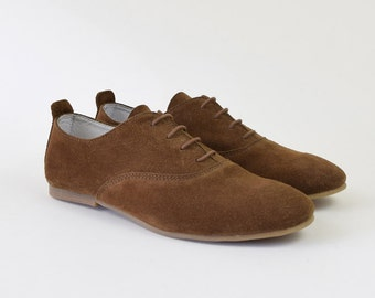 Tobacco Suede Oxford Shoes