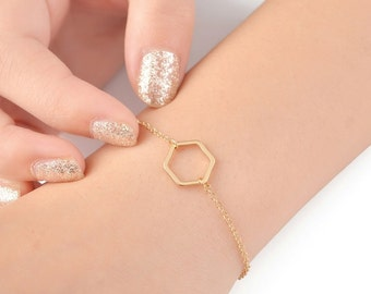 Hexagon Bracelet | gold stacking bracelet, 18k gold plating Honeycomb, Geometric bracelet, Honey Bee, Simple bracelet, minimalist jewelry