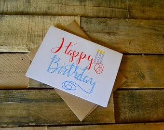 Handwritten Greeting Card | Happy Birthday | 1 Card + Envelope
