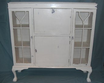 Presentation / display / writing cabinet in antique white, shabby chic distressed COLLECTION ONLY