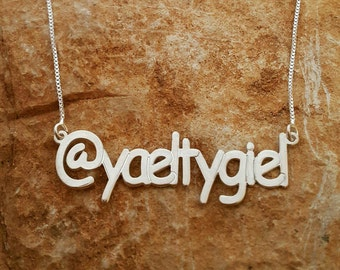Silver Name Necklace Twitter necklace Instagram Necklace Personalized Silver Name Necklace Custom Name Jewelry Social Media Twitter Facebook