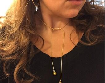 Amaya Ball & Chain Choker Lariat Necklace