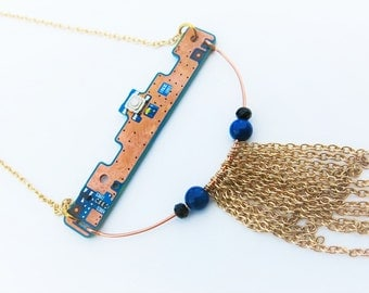 Microchip necklace, one of a kind computer part necklace, long chain necklace, geeky jewelry, tech jewelry, gift for her