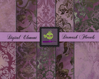 Damask Digital Paper, Digital Scrapbook Paper, Lilac and Lavender Damask Florals, Photo Overlay, Photo Backdrops. No. V1.06.DA