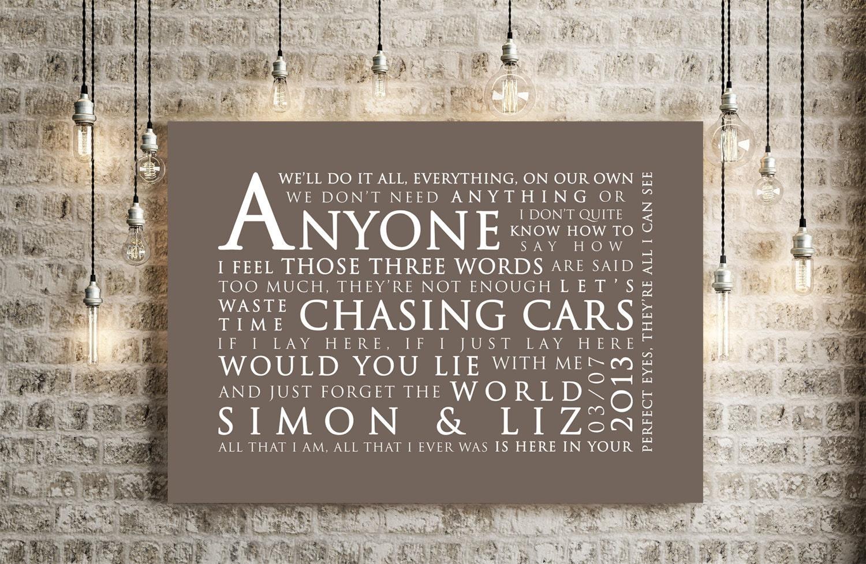 Snow Patrol Chasing Cars Inspired Lyrics Print Love Song Wall
