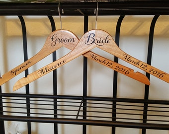 Personalized Bridal Party Wedding Dress Hanger, Bridal Shower Gift, Bride, Bridesmaid, Maid of Honor, Mother of the Bride, and Groom Hanger