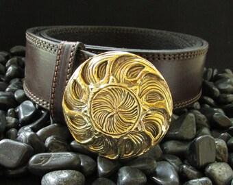 Belt buckle Sun leather belt with casting brass buckle