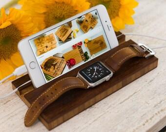 Docking Station Apple Watch All iPhones Stand Monogram Personalized iWatch Men Charging Wood Groomsman Boyfriend Initials