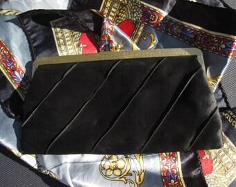 Evening bag black silk Vintage 50