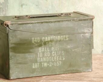 Vintage Army Green Ammunition box