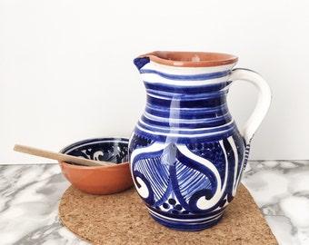 Blue and White Colheita Pitcher / Ceramic Jug / Terracotta Jug / Ceramic Pitcher / Terracotta Pitcher / Handpainted Pitcher