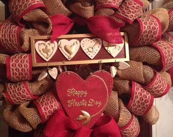 Happy Heart's Day Burlap Wreath