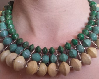 Georgette statement paper bead necklace