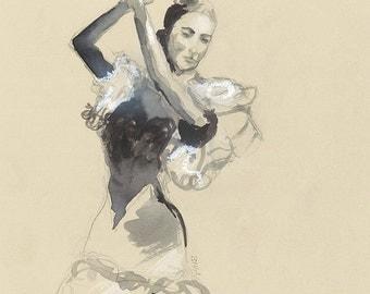 Flamenco dancer, drawing , watercolor and pastel