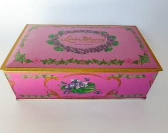 Vtg Tin Litho Hinged Candy Box Louis Sherry NY Shabby Chic Violets / Lilacs