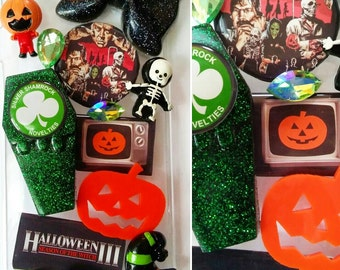 Halloween 3 Season of the Witch Silver Shamrock big giveaway Cochran Happy Halloween Horror pumpkin Tom Atkins bling phone case