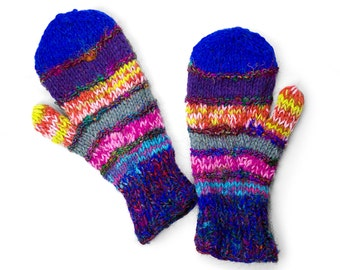 Wool Mittens, Handknit Mittens, Womens Wool Mittens, Mens Wool Mittens, Winter Mittens - Mega-Multi-Colored - 1791B