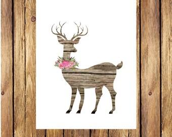 Deer Floral Print -INSTANT DOWNLOAD