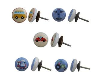 Set with 5 x ceramic knob, furniture knob nostalgia / knobs for children