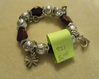 No. 821 Brown and Silver Charm Bracelet