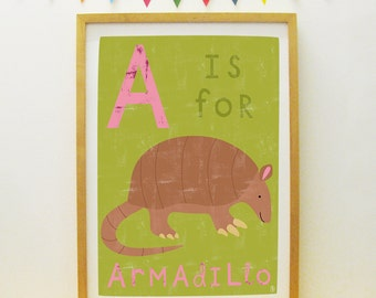 A Is For Armadillo poster/print (personalisable/customisable)