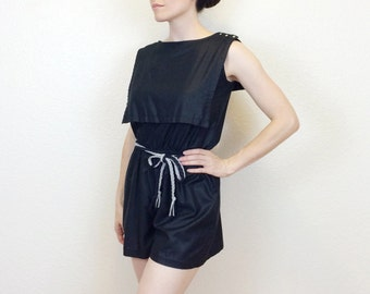 HELLO SAILOR - 70s Black Playsuit - Sailor Collar - Black Romper - Nautical Playsuit - 70s Playsuit - Elastic Waist - Medium / Large