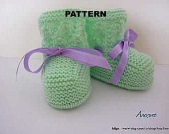 Knitted baby pattern PDF,baby booties, knitted baby shoes in green