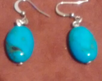 Oval turquoise earrings