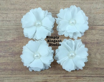 5 Small White Layered Fabric Flowers with Pearls, Headband Flowers, Wholesale Flowers, Flower Supply