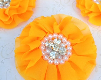 2 Golden Yellow Chiffon Flowers with Pearls and Rhinestones, Ruffled Fabric Flowers, Flat Back Flowers For Baby Hair Accessories