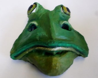 Frog Mask, wearable, paper mache, hand sculpted, amphibian, toad, green