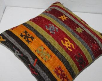 Turkish Kilim Pillow Cover Cushion Cover 16x16 Homedecor Pillows Throw Pillows Accent Pillows Bohemian Pillows Tribal Pillow