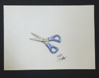 Drawing - Blue Scissors