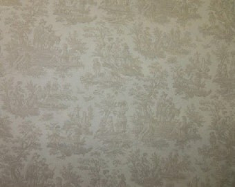 Waverly Toile Country Life color Taupe (Linen) Printed Decorative Fabric