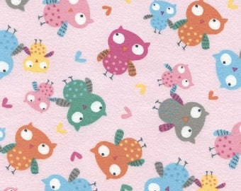 Owls Pink Fabric Quilting Crafting Home Decor