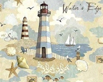 Lighthouse Scenic Water's Edge Beach Scene Fabric Cotton Home Decor Quilting Crafting