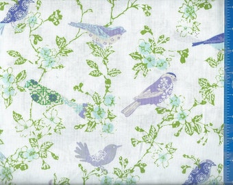 Bird color Lilac, Quilt or Craft Fabric, Fabric