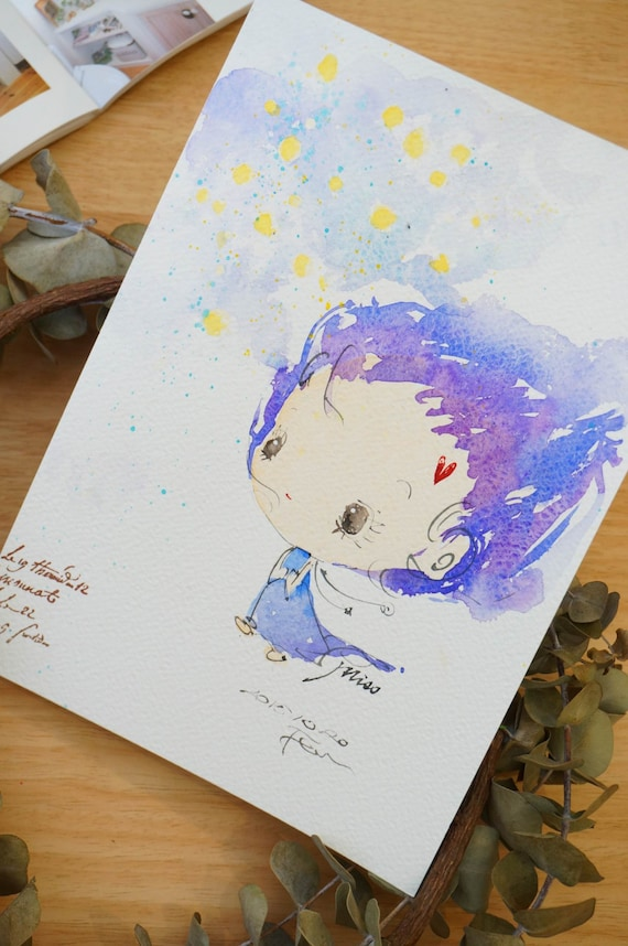 Original Watercolor Painting Miss series-m011 (7.5 x 9.8 inches)